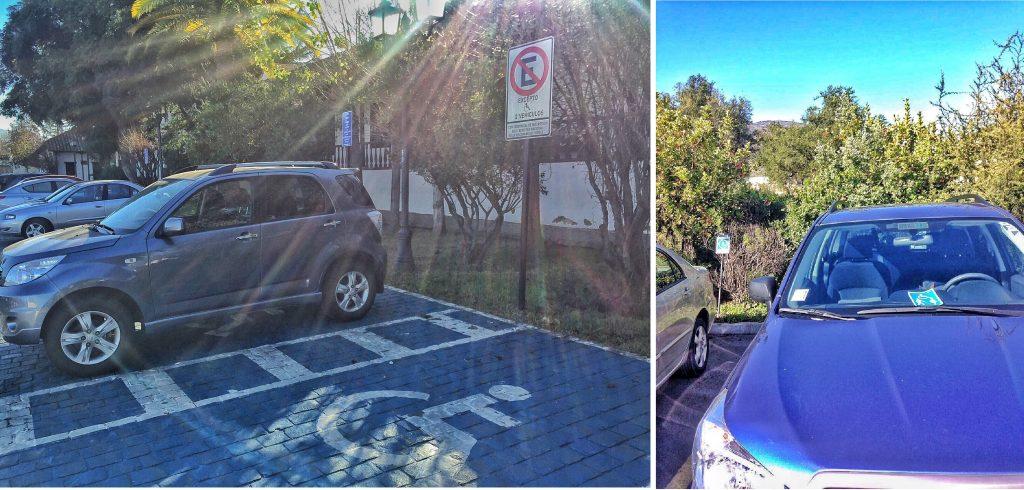 carro sem sinalização estacionado em local proibido, selo de acesso no para-brisa do carro
