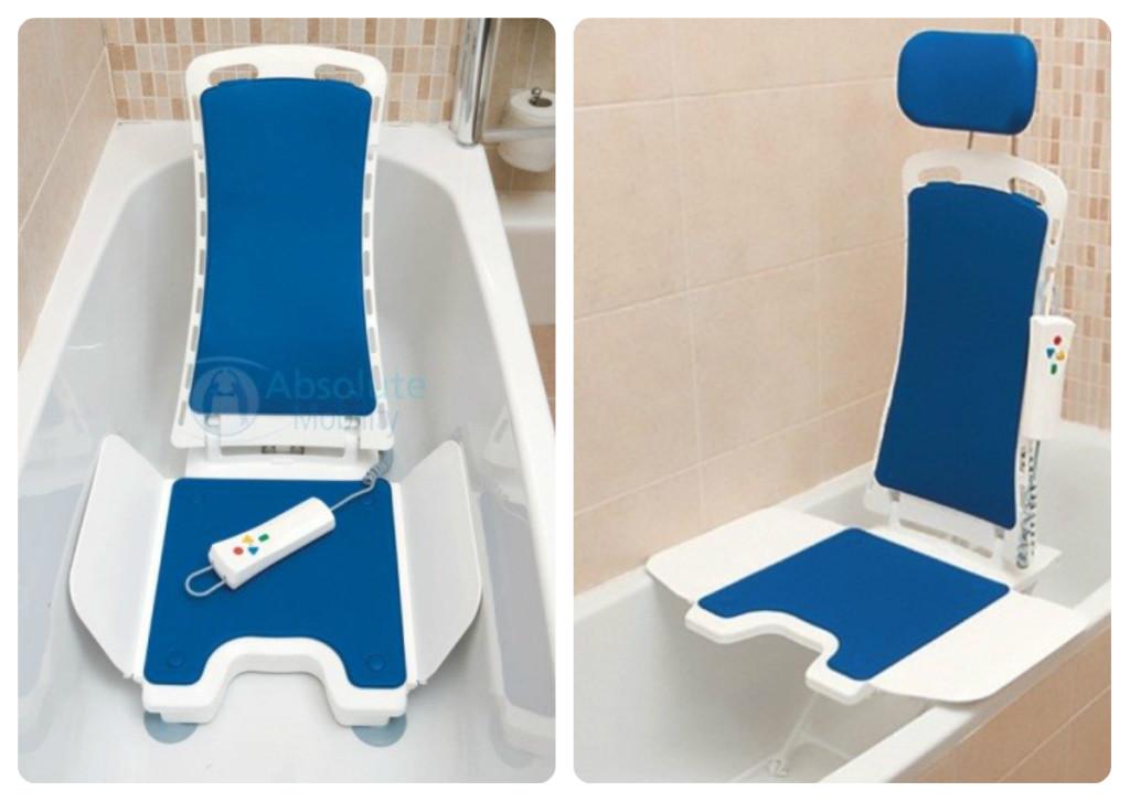Bellavita - Absolute Mobility | Uma cadeira de banho leve e com controle à prova de água, o qual abaixa e eleva o usuário na banheira, e também reclina o encosto até 50 graus. Fonte: http://www.absolutemobility.co.uk/product/the-bellavita/
